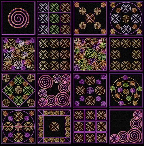Spiral Quilt blocks 16 Machine Embroidery Designs set 4x4