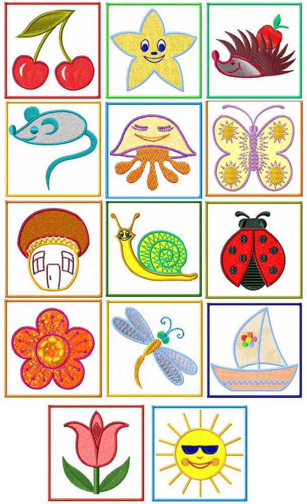 Kids Summer Dreams Applique Embroidery Designs set 4x4