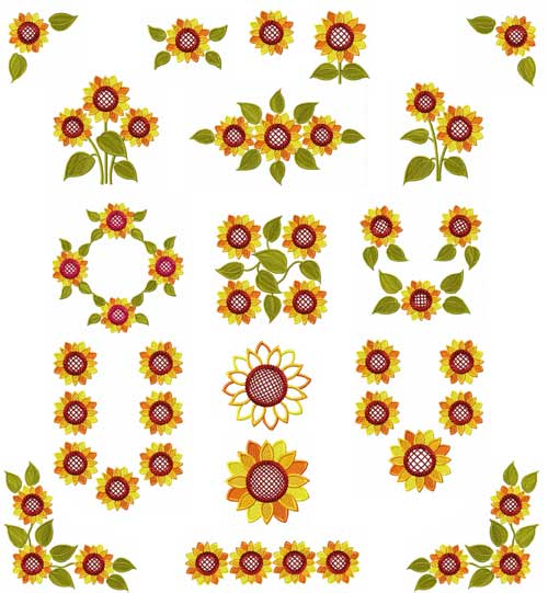 Sunflowers 16 Machine Embroidery Designs set