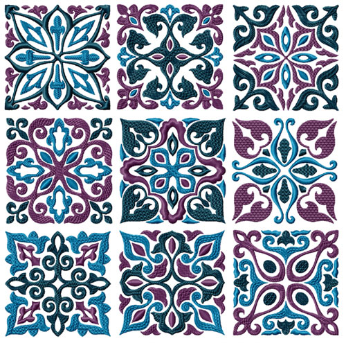 Tiles - 9 Square Quilt Blocks Machine Embroidery Designs 5x5