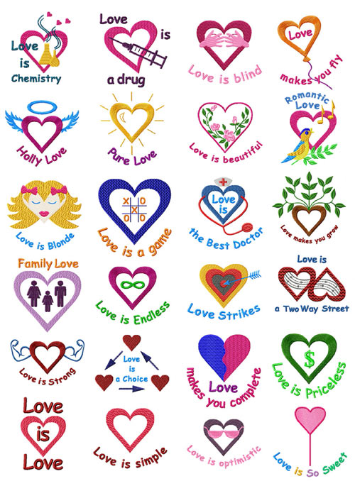 Valentines: Hearts (Love Is) 24 Machine Embroidery Designs set 4x4