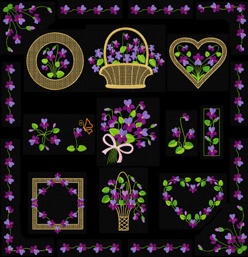Violets 14 Machine Embroidery Designs set 5x7