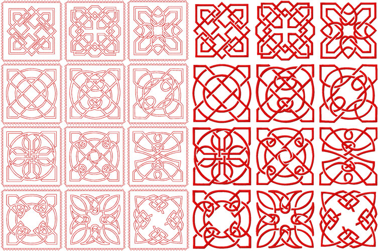 Celtic Redwork and Embroidery Square Quilt Blocks 4x4, 5x5 and 6x6 hoop