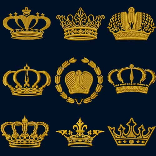 Crowns 9 Machine Embroidery Designs set